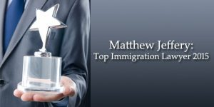 Matthew Jeffery gets Honoured as Top Immigration Lawyer for 2015